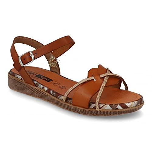 Digo Digo - Sandalias Mujer Planas | Zapatos de Verano con Pulsera | Cómodas para Piés Delicados (Cuero, Numeric_37)