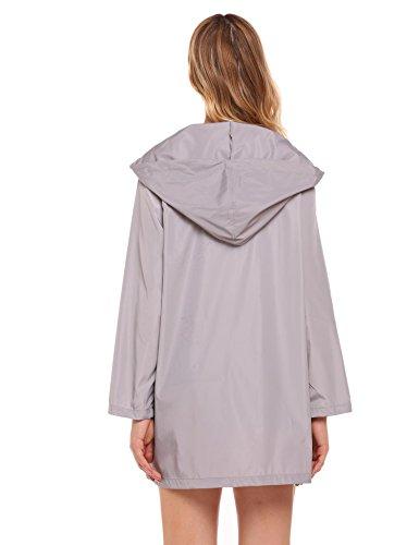 SoTeer Women's Raincoat Lightweight Grey Rain Jacket Long Sleeve Outdoor Waterproof Hooded Jacket Windbreaker Raincoats, XL
