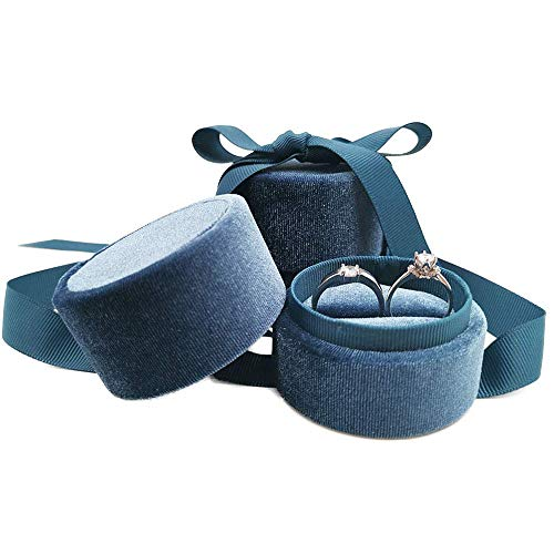 Beatilog Velvet Ring Bearer Box - Premium Cute Round Double Ring Earring Jewelry Storage Organizer Gift Box with Elegant Silk Bow for Wedding, Engagement, Birthday, Christmas, Anniversary (Blue)