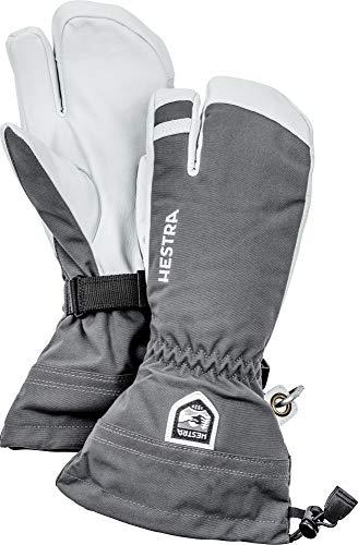 HESTRA Skihandschuhe für Damen und Herren, Armee-Leder, 3-Finger-Winterhandschuh, Grau, 11