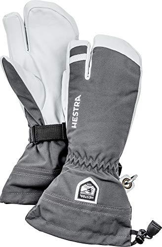 Hestra Army Leather Heli Ski Glove - Classic 3-Finger Snow Glove for Skiing, Snowboarding and Mountaineering - Grey - 8