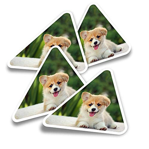 Vinyl Triangle Stickers (Set of 4) - Fluffy Welsh Corgi Puppy Dog Fun Decals for Laptops,Tablets,Luggage,Scrap Booking,Fridges #2702