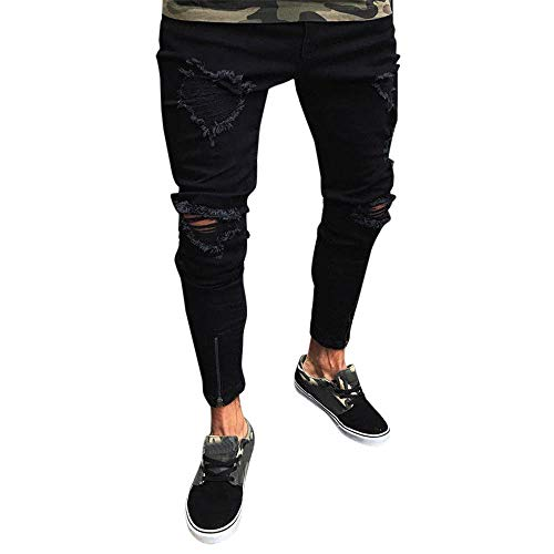 Lookatool Jeans Men Ripped Destroyed Stretchy Knee Holes Slim Tapered Leg Jeans Denim Pants 2XL Black