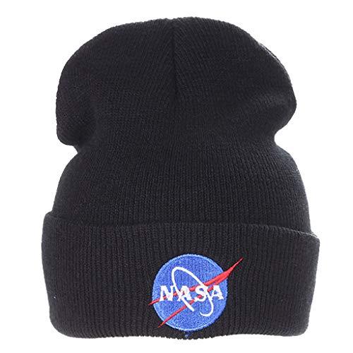 NASA Mütze Damen, Teenager Mädchen Elegante NASA Stickerei Winter Strickmütze Frauen Herren Männer Gestrickt Stricken Mützen Kinder Wintermütze Warme Wollmütze Pelzmütze Hut Haube Cap Hat (Schwarz)