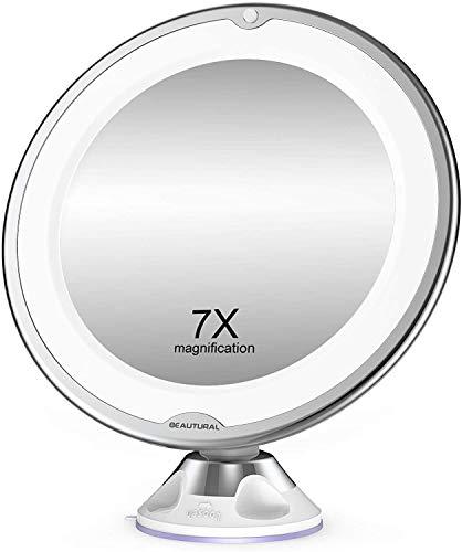 BEAUTURAL Espejo de Baño Mujer, Espejo Maquillaje con luz LED Aumento 7X, con Rótulo Giratorio Ajustable y Ventosa,a Pilas