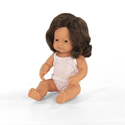 Miniland – Muñeco bebé Europea Niña Morena de Vinilo Suave de 38cm con rasgos étnicos y sexuado para el Aprendizaje de la Diversidad con Suave y Agradable Perfume. Presentado en Caja de Regalo.