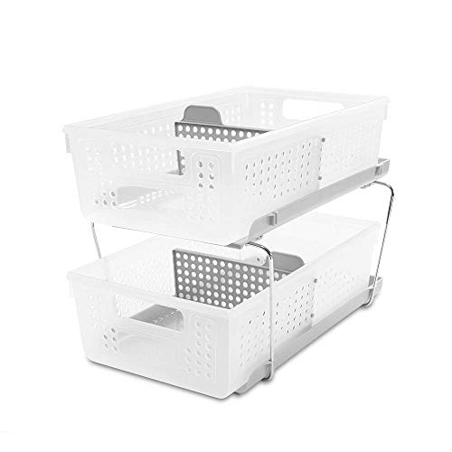Price comparison product image madesmart 2-Tier Organizer Bath Collection Slide-out Baskets with Handles,  Space Saving,  Multi-purpose Storage & BPA-Fre,  Large,  Frost-with Dividers