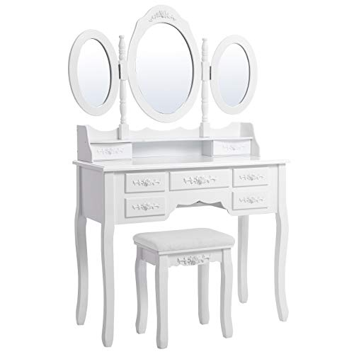 Songmics Wall-Fixed Luxurious 3 mirrors Dressing Table Set with stool, 7 drawers with 2 Dividers Make-up Dresser RDT91W
