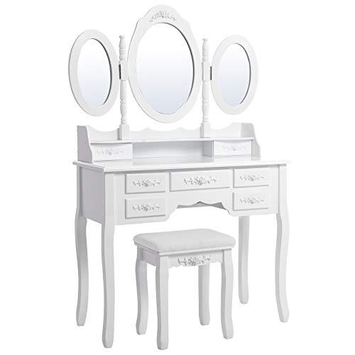 Songmics 3 RDT91W, Specchiera Tavolo Cosmetici Mobile da Trucco da toeletta con sgabello comò con specchio, Bianco
