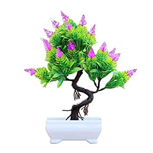 Artificial Flower Simulation Pine Tree Potted Bonsai Fake Plants Party Home Hotel Desktop Office Decor Rose Red