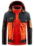 Men's Waterproof Ski Jacket Mountain Windproof Rain Snowboarding Jackets Winter Fleece Warm Snow Hooded Coat (Orange,L)
