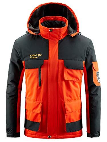 Men's Waterproof Ski Jacket Mountain Windproof Rain Snowboarding Jackets Winter Fleece Warm Snow Hooded Coat (Orange, S)