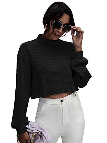 MakeMeChic Women's Turtle Neck Drop Shoulder Long Sleeve Rib Knit Crop Top Tee Shirt A Black M