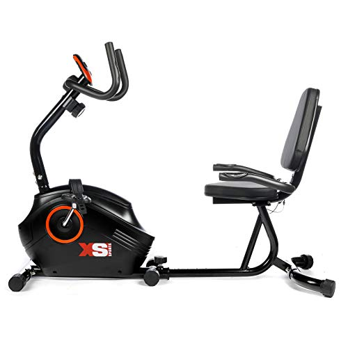 XS Sports B400R ​Magnetic Recumbent Exercise Bike - Cycle Machine - Stationary Indoor Cycling Fitness Equipment ​for ​Home Gym, Cardio Workout
