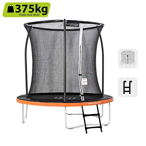 GREADEN Trampoline extérieur Rond Freestyle Orange 250 + Échelle Pack Plus Fitness Jardin Trampoline Ø 244cm
