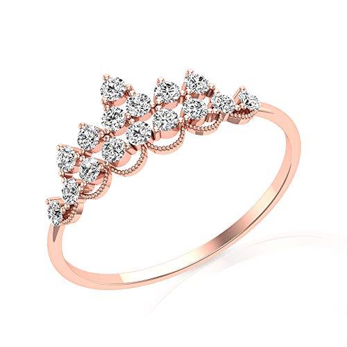 Anillo de compromiso vintage con diamantes certificados IGI de 0,41 quilates, oro grabado antiguo con cuentas de corona de boda, anillo de promesa de aniversario de tiara, 14K Oro rosa, Size:EU 64
