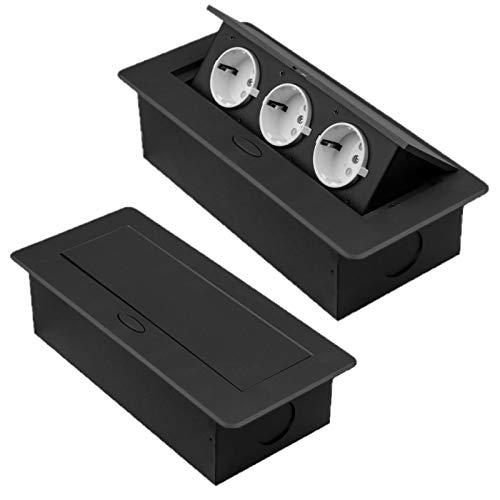 M1352 - Einbausteckdosen in verschiedenen Größen und Farben - wahlweise mit USB oder Internetanschluss (3er / dunkelbraun)