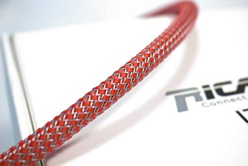 Ricable Custom RG08/10 - Rojo/Grigio 10 MT - Funda Trenzada expandible para Cable 4-10 mm