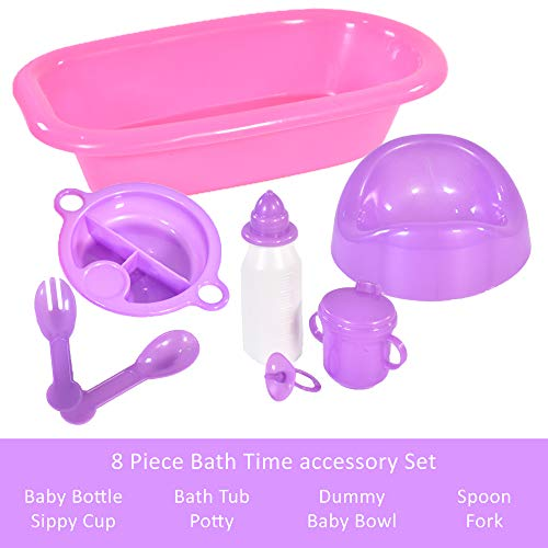 KandyToys Baby Doll Bath and Bottle 8 Piece Doll Toy Bath Time Accessories Set