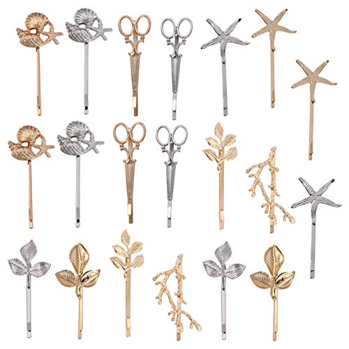 FRCOLOR 20Pcs Gold Leaf Hair Clips Metal Bobby Minimalist Hair Barrettes Sea Star Scissors Hairpins Side Clip Hair Accessories for Women Girl Toddler Party Favor (Mixed Style)