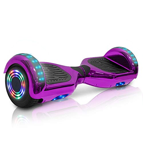 Wilibl Hoverboard for Kids Ages 6-12 Electric Self Balancing Scooter with Built in Bluetooth Speaker 6.5  Wheels LED Lights Hover Board Safety Certified (Chrome Purple)