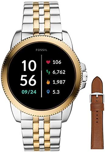 Fossil Reloj Analógico para Hombre de Pantalla táctil con Correa en Acero Inoxidable Bicolor FTW4051 + Correa de Piel Marrón Claro y Silicona