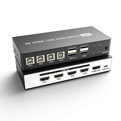 4 en 1 Salida KVM Switch, 4K*2K@60Hz HDMI Caja de Conmutador USB KVM Para 4 PC Teclado Ratón Monitor Cámara USB, Discos Duros e Impresoras, Computadora portátil PC PS4 Xbox HDTV con 4 cables USB