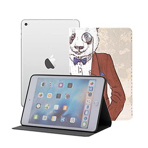 Mini Funda para iPad Dressed Up Hipster Panda en Gafas Funda para niños para iPad Mini iPad Mini 1/2/3 Auto Sleep/Wake con visualización de múltiples ángulos para iPad Mini 3 / Mini 2 / M