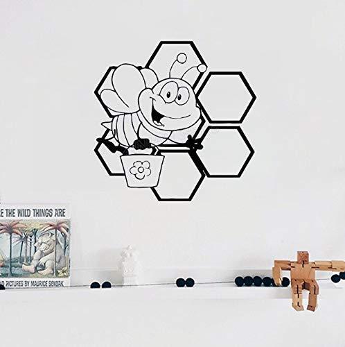 Leuke bijen honing honingraatvleugel kinderkamer vinyl muursticker voor kinderkamer patroon kunst decoratie muurtattoo dieren huisdecoratie 57 * 56 cm