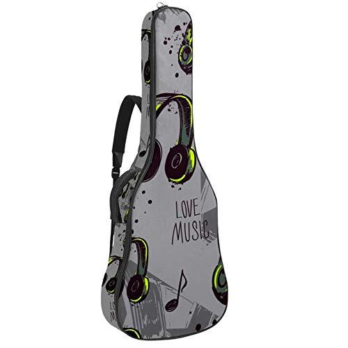 TIZORAX - Funda para guitarra acústica, diseño de luna dorada y estrellas con impresión personalizada, tamaño completo, con asa acolchada para el hombro