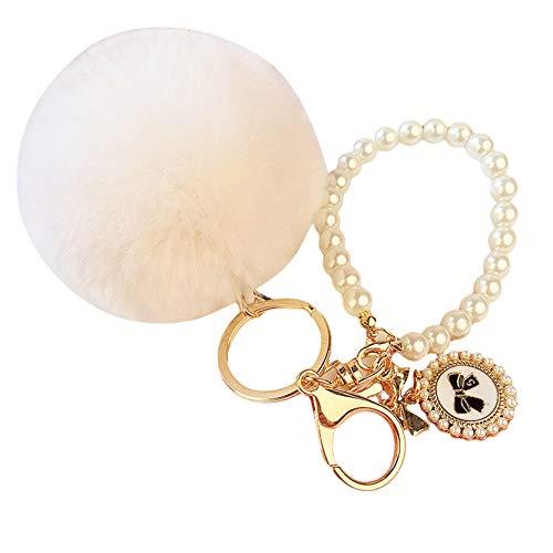 EMFGJ Llavero de bola mullida para coche, con diseño de perlas de...