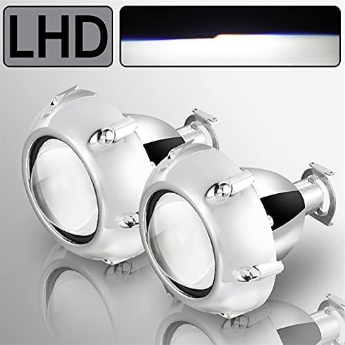 YZLP Lámpara 2 unids Xenon HID de 2.5 Pulgadas Lente del proyector BI Universal para H4 H7 H8 H8 H8 H11 Motorcycle Footlight Proyector de Faros (Color : 2pcs GTI Shroud LHD)