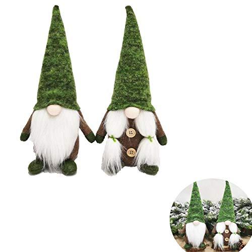 2021 Elfo de conejito sin rostro verde de Pascua , Muñeco de peluche hecho a mano , Muñeco de elfos enano sin rostro verde de Pascua. (2PCS)