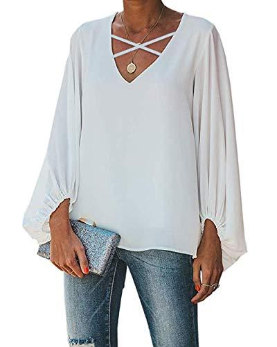 SIRUITON Damen Chiffon Bluse mit Spitze Loose Tunika Elegant 3/4 Glockenärmeln Chiffon Blusen Casual Shirt, Weiß, XL