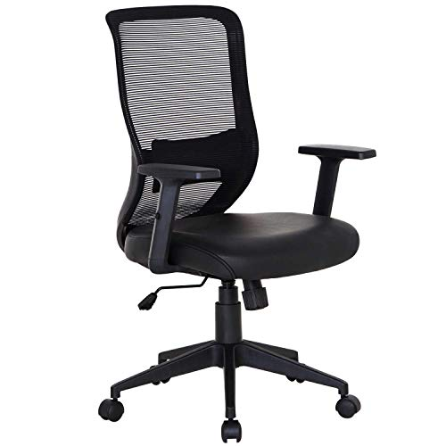 VECELO Office Computer Desk Chair with PU Padded Seat Cushion, Adjustable Armrest, Ergonomic Lumbar Support for Task Work, Black