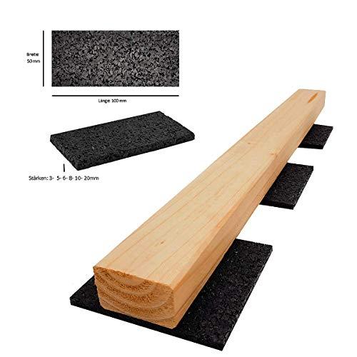 Terrassenpads I gummipad I Unterleger aus Gummigranulat für Terrassenholz / Terrassendielen (100 x 50 x 3 mm Menge: 100 Stück)