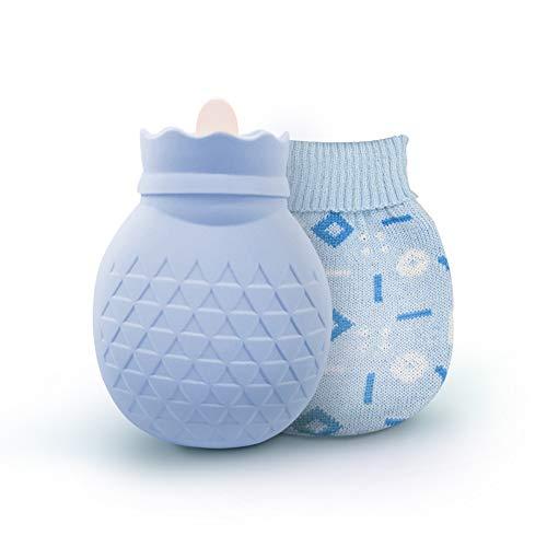 Wärmflasche mit bezug, ipow Wärmeflaschen Strick Abdeckung Schnelle Komfort zur Behandlung von Bauch/Rückenschmerzen, für kalte Umschläge bei Muskel verstaucht, Verbrühungen und Fieber - Himmelblau