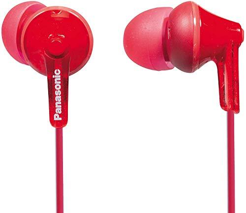 Panasonic RP-HJE125E-R Auriculares Boton con Cable In-Ear (Headphone Sonido Estéreo para Móvil, MP3 MP4, Diseño de Ajuste Cómodo, Imán Neodimio 9mm, Presión de sonido de 97 dB) Color Rojo