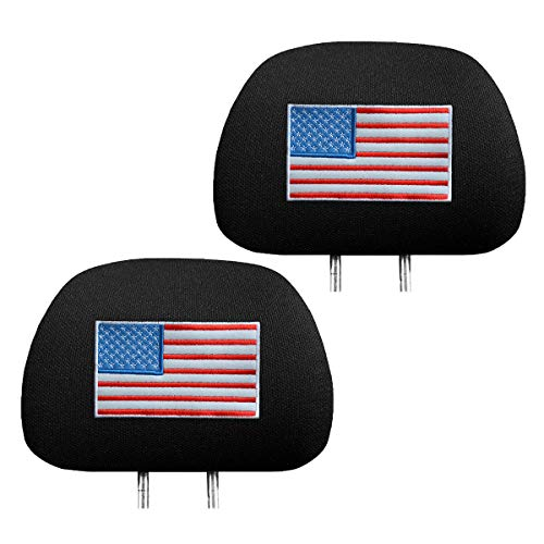 zhoubai US American Flag Headrest Covers for Cars - Stars and Stripes Head Rest Protector, 4th of...