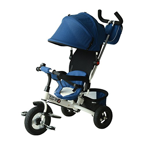 Qaba 2-in-1 Lightweight Steel Adjustable Convertible Baby Tricycle Stroller, Blue