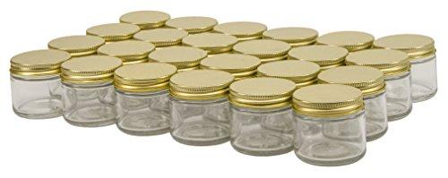 North Mountain Supply – Tarros de vidrio de 2 onzas, con tapas doradas de 53 mm, 24 tapas de metal dorado