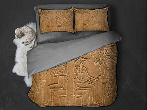 Egyptian Comfort Luxurious Softest Premium Bed Sheet Set Egyptian Hieroglyphs on the Wall Stone Surface Scripts Ancient Arts Theme Image Anti-wrinkle and anti-fading (Full) Pale Brown