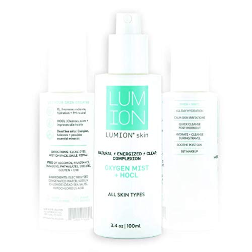 LUMIONskin Oxygen Mist for Hydrating and Cleansing Skin - Includes Hypochlorous Acid and Dead Sea Salt - Natural Face Mist for Daily Use - Ideal for All Skin Types - 3.4 fl oz / 100 ml