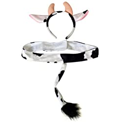 Plush Cow Headband Ears and Tail Costume Set