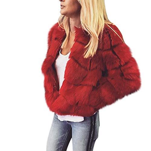 SANFASHION Mantel 2019 Damen Herbst und Winter Lose Pelzjacke Kurzjacke Fleecejacke Warmer Jacke Mode Outwear Wintermantel