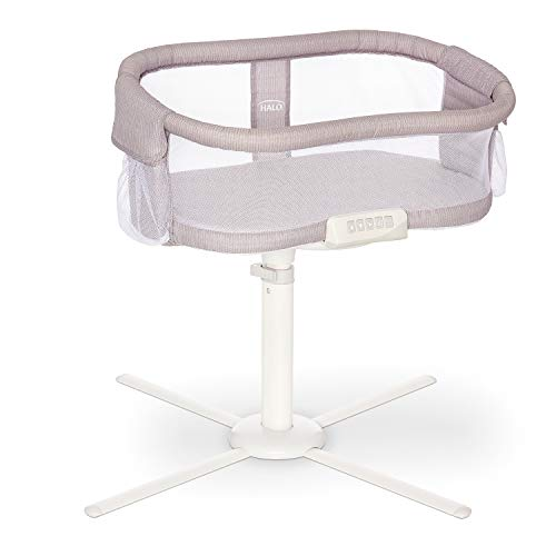 HALO BassiNest Swivel Sleeper, Bedside Bassinet, Soothing Center with Nightlight, Vibration and Sound, Premiere Series, Herringbone