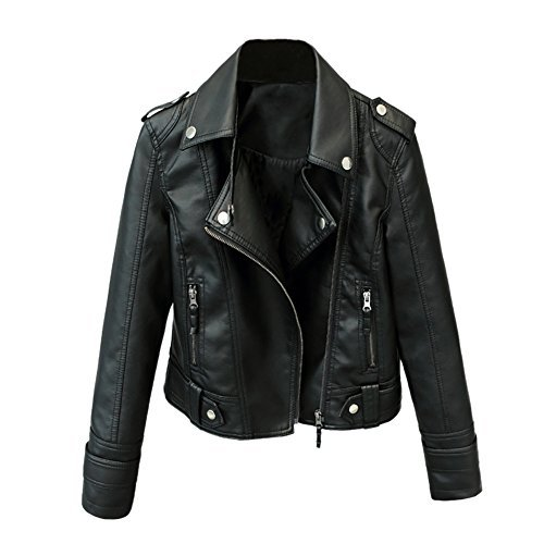 iBaste Women Faux Leather Jackets Black Zip Up Long Sleeve Coats Outerwear,Black,Label M / US XS