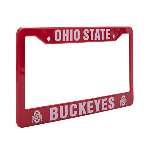 """EliteAuto3K Ohio State Buckeyes License Plate Frame – Red & White – 12.25"""" x 6.25"""" - NCAA Car Accessory for Sports Fans & Supporters – Slim Design"""