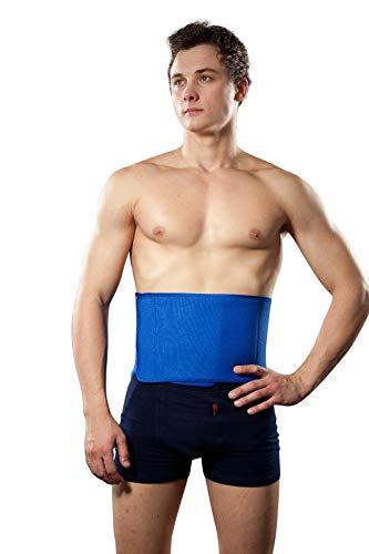 Hochwertige Rückenbandage aus Neopren, Rückenstütze, Nierengurt, Lumbalbandage (uni (S-XL), Blau)