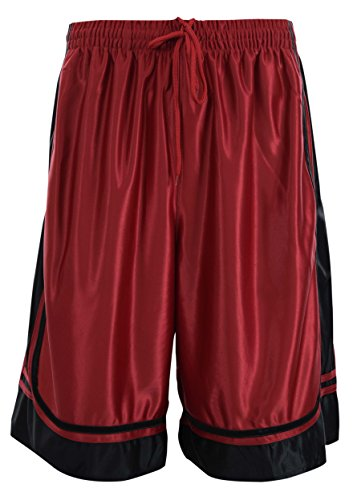 Mens Two Tone Training/Basketball Shorts with Pockets (S up to 4XL) (S, Red)